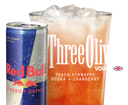 $7 Red Bull + Three Olives Excitabull Every Day