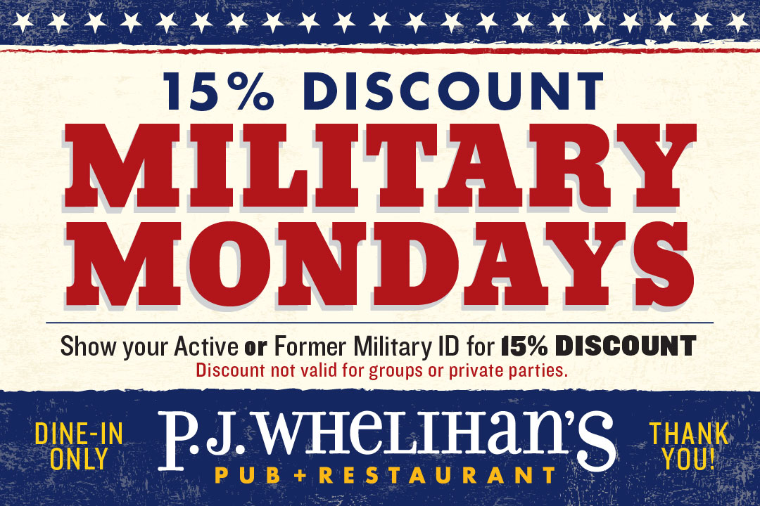 Military Mondays, 15% Discount when you show your active or former military ID, now valid for groups or private parties