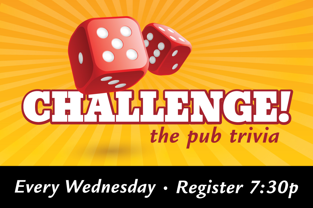 Challenge the Pub Trivia, Team Registration at 7:30pm