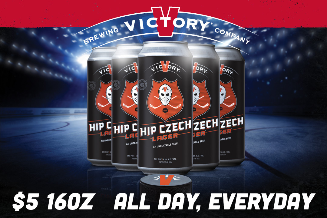 $5 16oz Victory Czech Lager, all day, every day